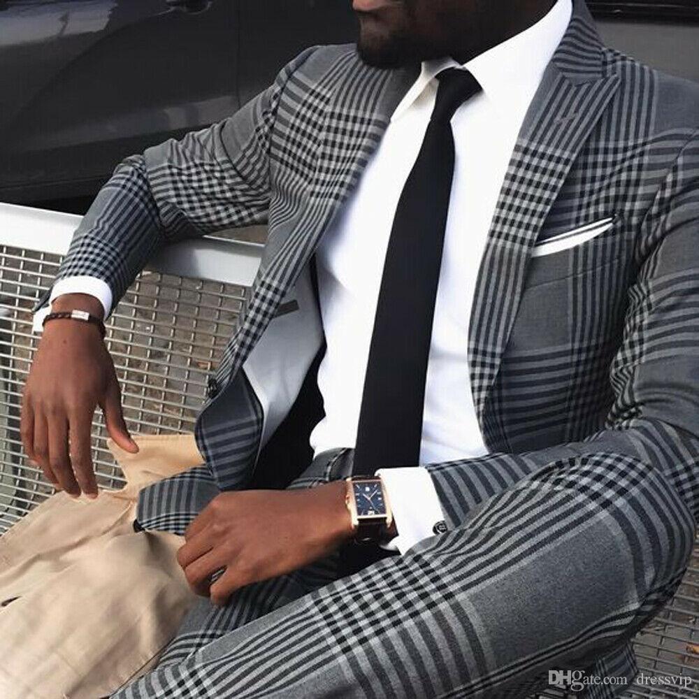 Grey Mens Plaid Vintage ternos estilo britânico Magro Notch lapela do noivo partido smoking smoking para homens Suit Prom Formal (Jacket + calças)