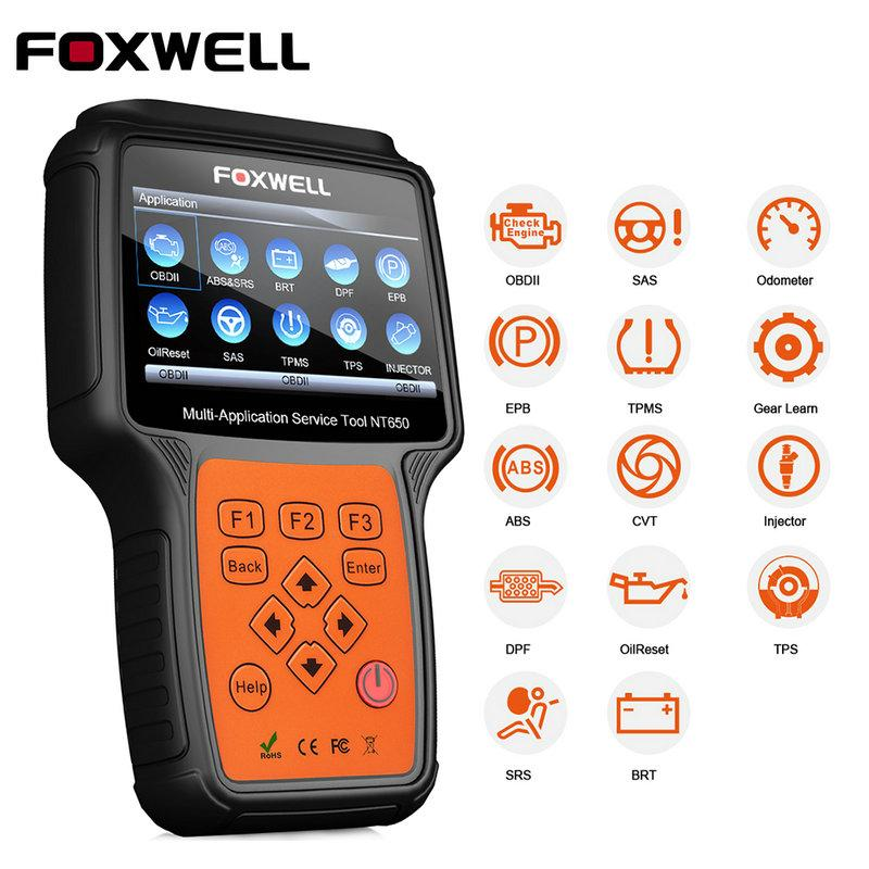 FOXWELL NT650 OBD2 Car Diagnostic Tool ABS SRS Airbag SAS EPB Oil Service DPF TPMS Reset Special function OBD OBDII Auto Scanner