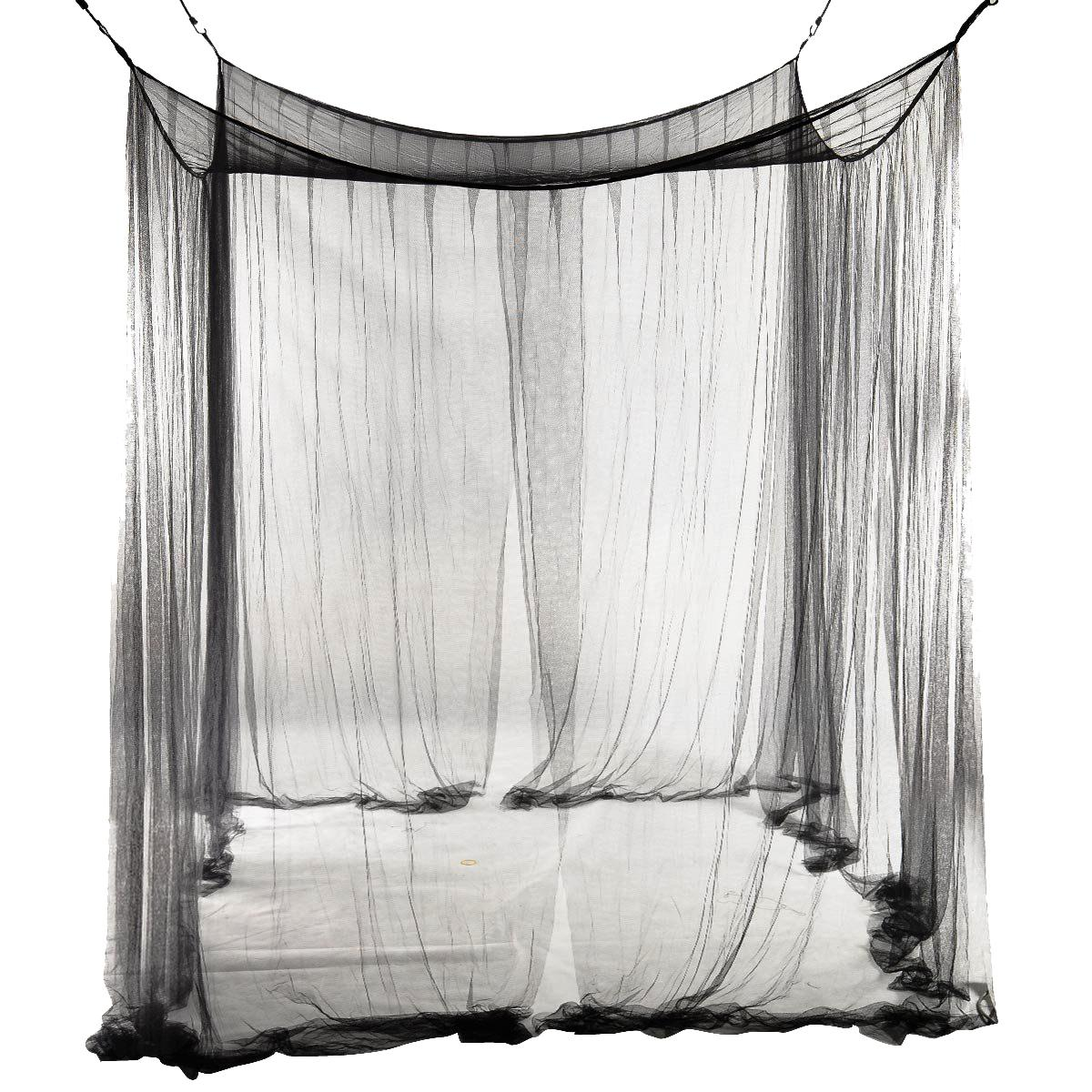 4-Corner Bed Rede Canopy Mosquito Net para Queen / cama king size 190 * 210 * 240 centímetros (Black) Bed Curtain Room Decoration