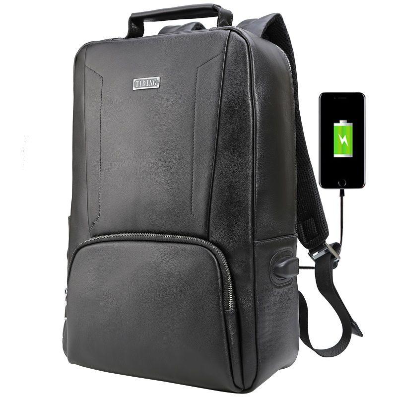 가죽 가방 새 디자인 블랙 방수 배낭 정품 가죽 블랙 학교 가방 핸드폰에 대 한 USB 충전 포트와 함께