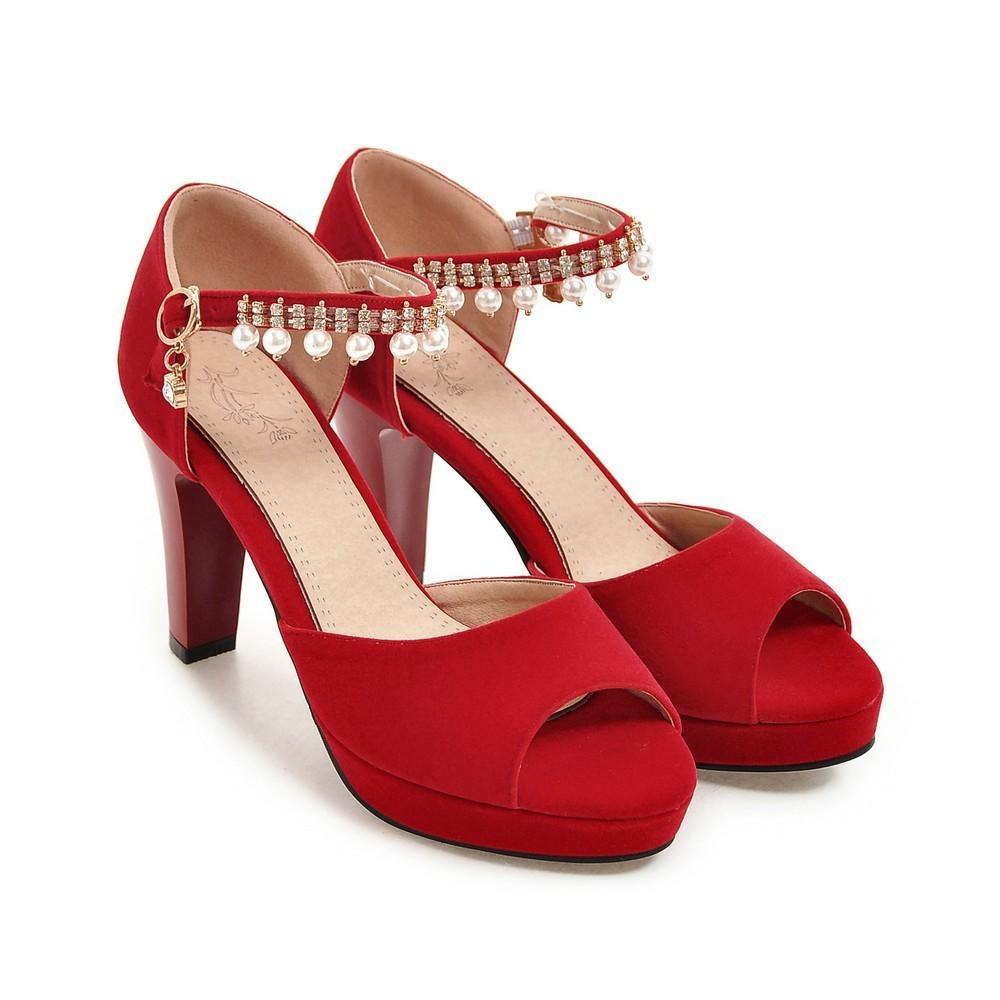 Sexy2019 String Of Beads Trip Hairtail Mouth Sandals Classic Pattern European Coarse Shoes High Shoe G55