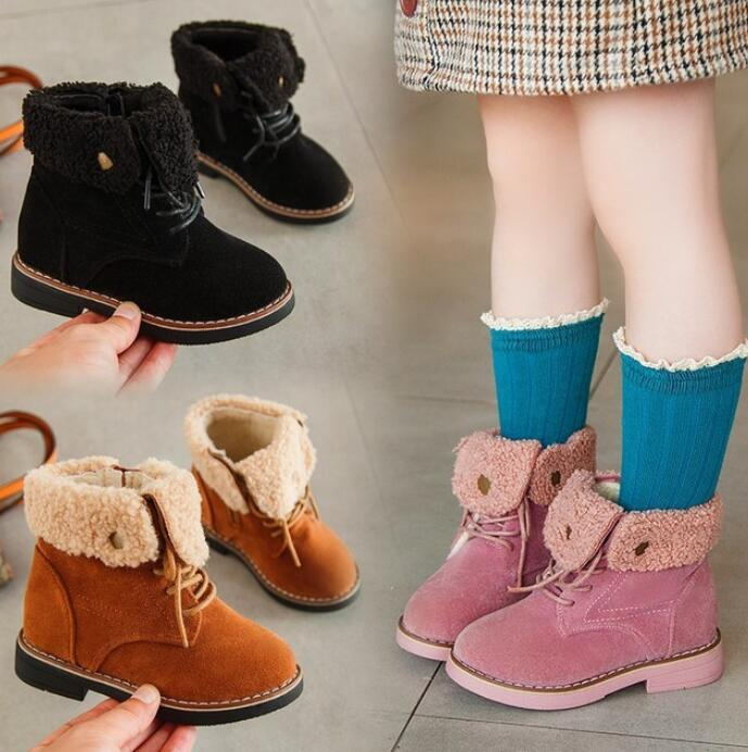 USA Girls Boys Kids Martin Shoes Ankle Warm Boots Fur Inner Lace Zipper Up Suede