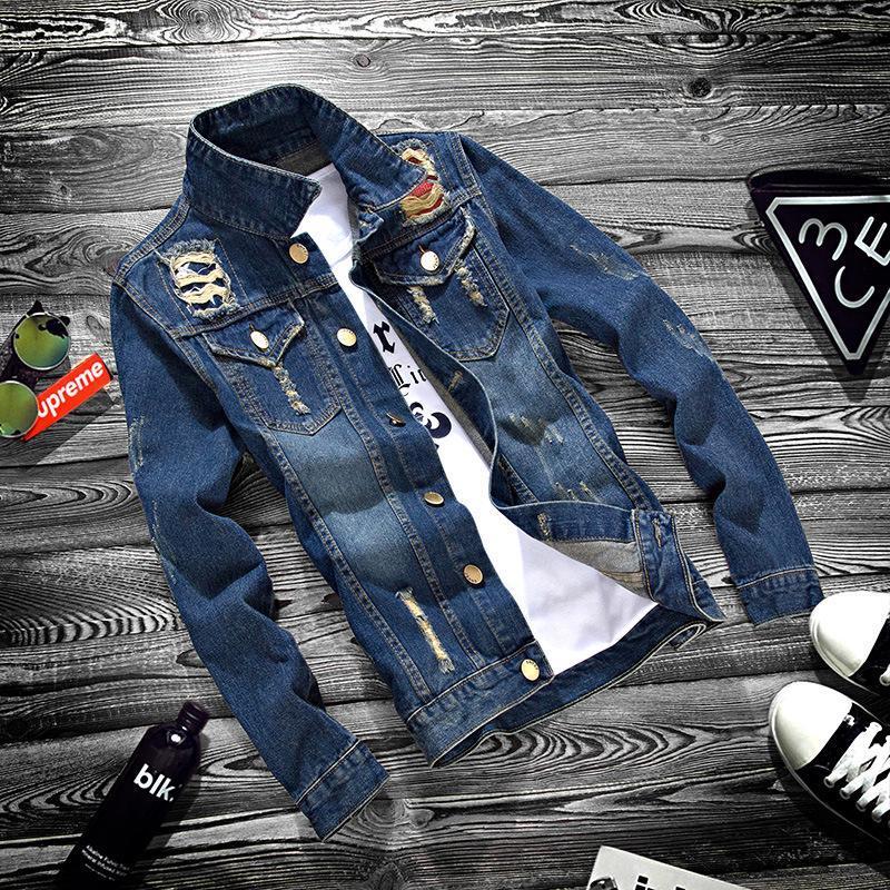 Erkekler Ceket İlkbahar Sonbahar Moda Hip Hop Sıkıntılı Ripped Casual Erkek Denim ceketler Uzun Kollu İnce Coat