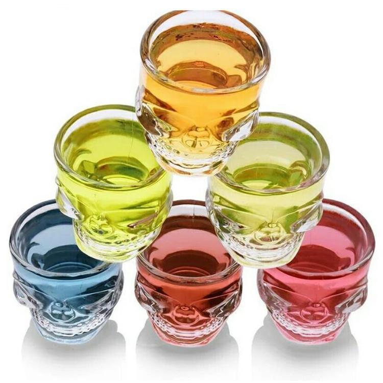 핫 판매 창조적 인 크리스탈 해골 머리 보드카 와인 샷 컵 해골 해적 맥주 유리 머그잔 투명 유리 컵 T9I00117를 마시는