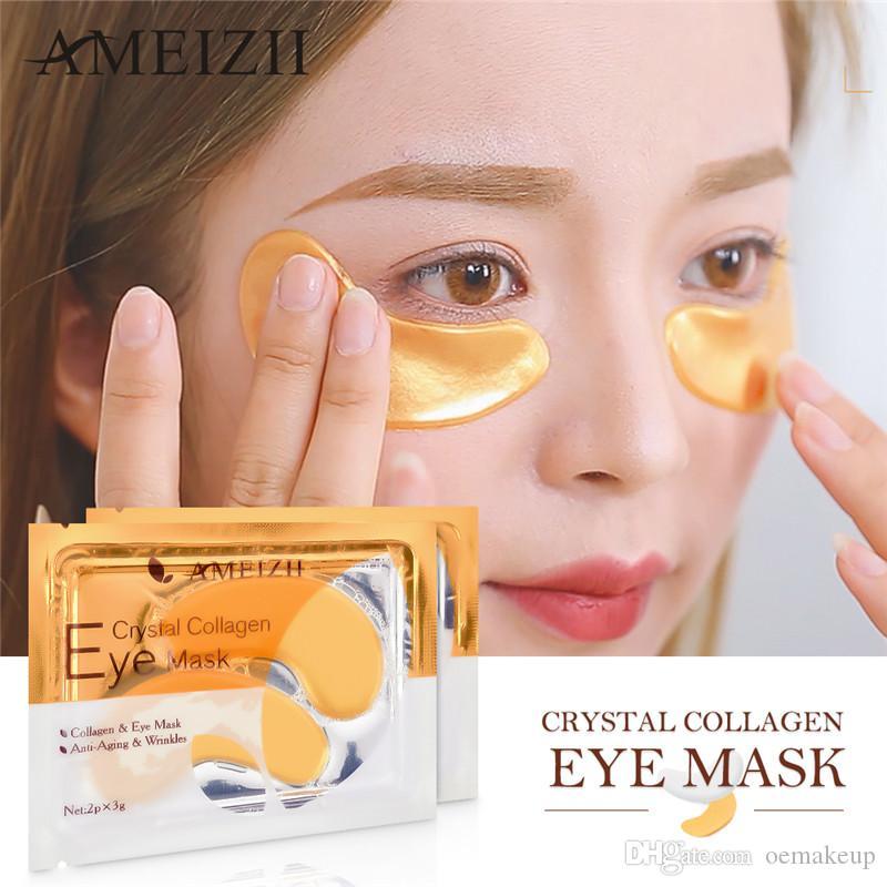 Ameizii 2PCS = 1PAir 24 كيلو الذهب كريستال الكولاجين قناع العين بقع العين العناية بالعين الدوائر المظلمة إزالة العناية بالبشرة