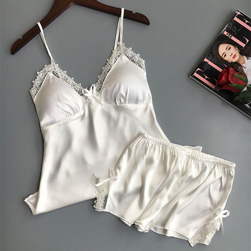 Sexy lencería para mujer satén seda pijama verano espaguetis correa ropa de dormir encaje pijama pijama mujeres casero algas albornoz