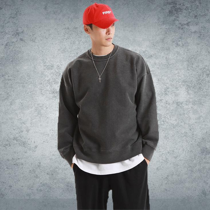 Beiläufige lose Sweatshirt Men Cotton Solide Hoodie Mode Hip Hop Streetwear Männer Langarm Pullover Gym Fitness Sportswear Tops