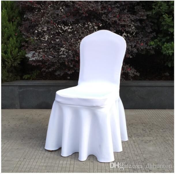 Wholesale wedding ruched lycra chairs cover spandex thick chair cover Thickened Pleated Skirt Style Elastic Spandex Chair Covers