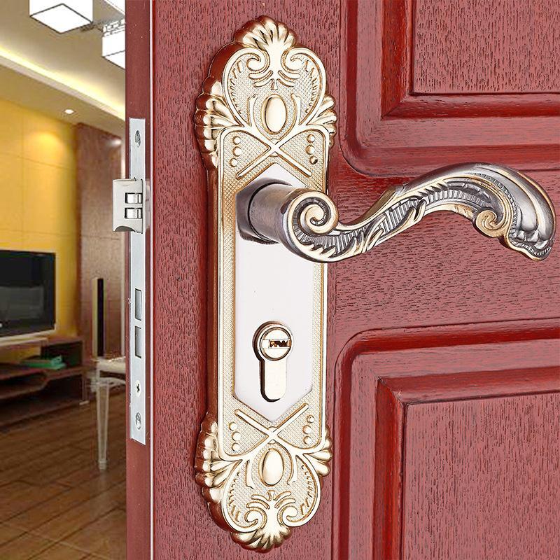 European new aluminum alloy bedroom wooden door lock hardware lock with lock core