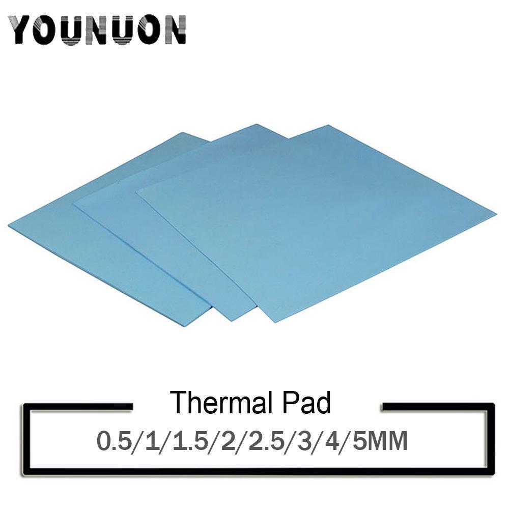 100 × 100 YOUNUON 냉각 팬 0.5 1 1.5 2 3 4mm 도성 실리콘은 열 냉각 5mm tichkess 열 패드 CPU 방열판 패드