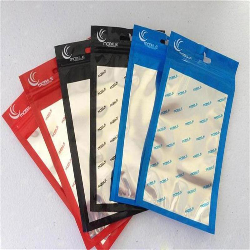 1000pcs Clear aluminum Letter twill stripe packing bag oPP Plastic Poly package bag For Smart Phone,Mobile phone,Android phone case Cables