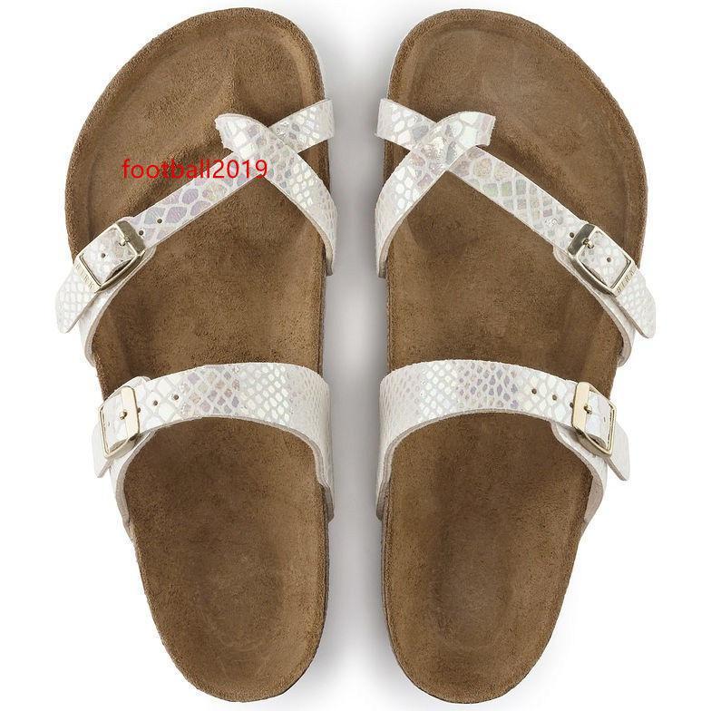 Yeni Ünlü Marka Arizona Plaj Terlik kadın ve erkek toptan Düz Sandalet Brik Casual Yaz Gerçek Deri Terlik için toka