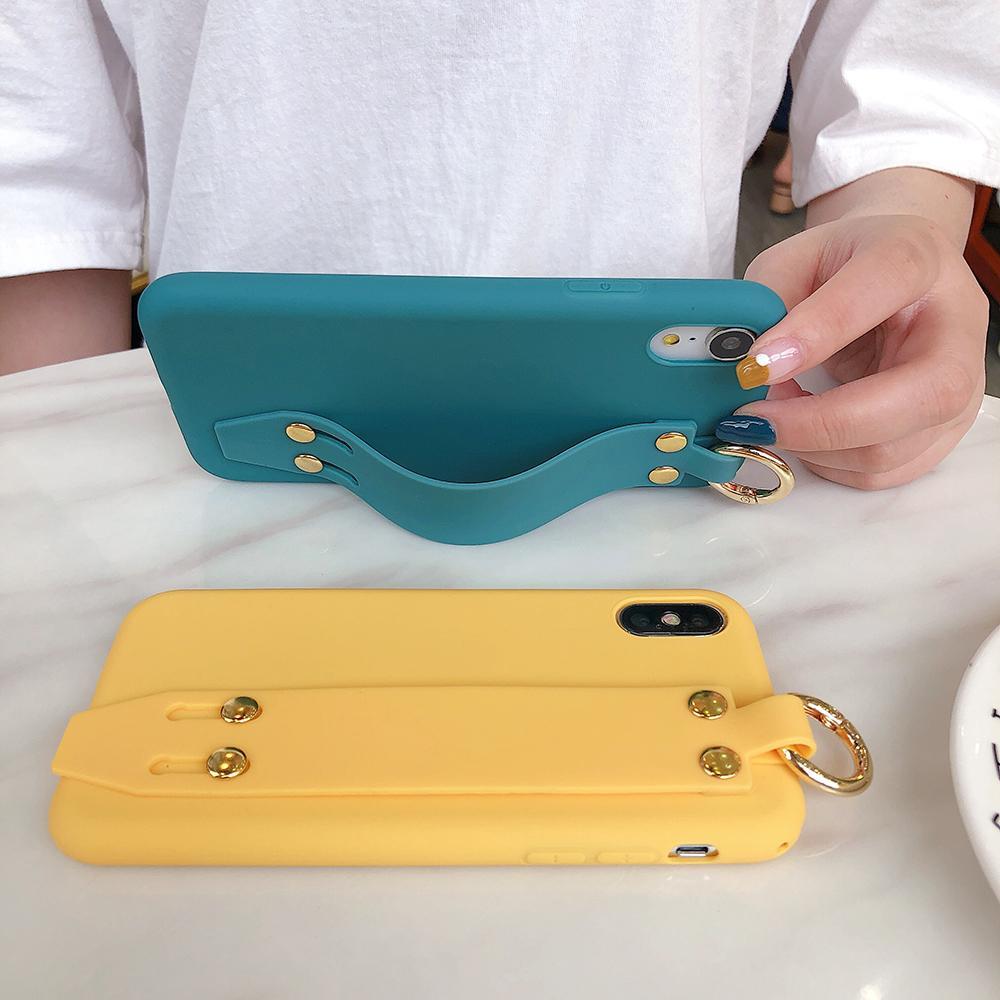 Per iphonePhone 11 Holder Pro Max X XR XS Max di colore della caramella cinturino da polso morbido silicone di caso per iphonePhone 8 7 6 6s più 11 SE 2020 SE2 Casi