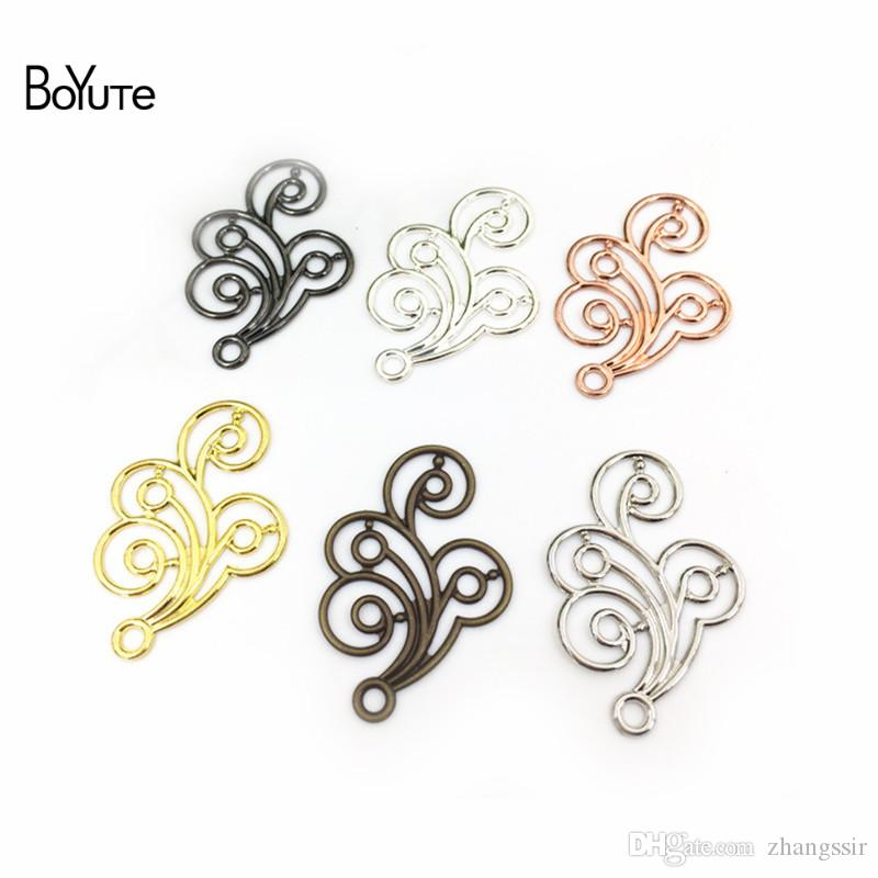BoYuTe (100 Pieces/Lot) 20*30MM Stamping Filigree Flower Pendant Charms Metal Brass DIY Handmade Jewelry Accessories