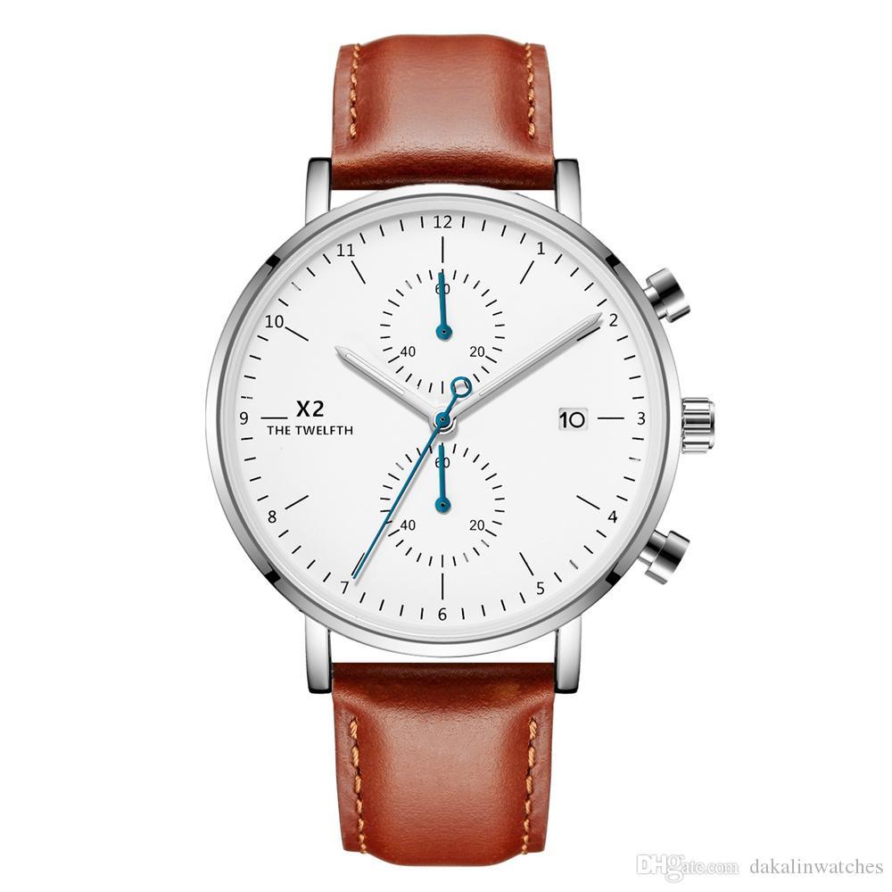 Brown Bracelet Nouveau Hommes Bracelet en cuir de luxe Quartz Chronographe Top affaires lumineux Homme Horloge 2020 Montre homme boîte de