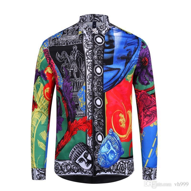 2019 Otoño invierno manga larga camisas casuales hombres camisa de vestir estampada Color Print Slim Fit Medusa camisas de seda M-2xl