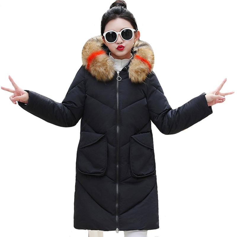 New design of women's winter coat, long gown, skin collar, winter coat, female PACA 2019