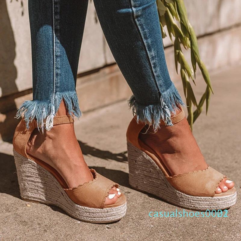 Kadın Bayanlar Peep Toe Kama Sandalet Kadınlar Yüksek Topuk Toka Nedensel Sandalet Platform Heels Kadın Ayakkabı C22 Ayakkabı