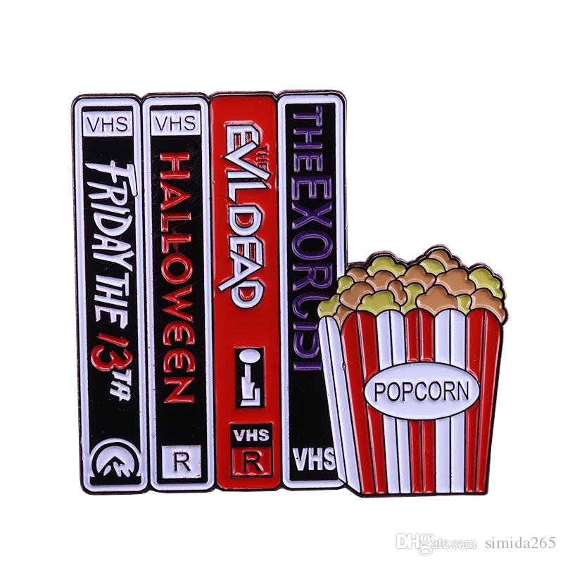 2020 Vhs Halloween 2020 VHS And Chill Popcorn Enamel Pin Horror Movie Fans Badge