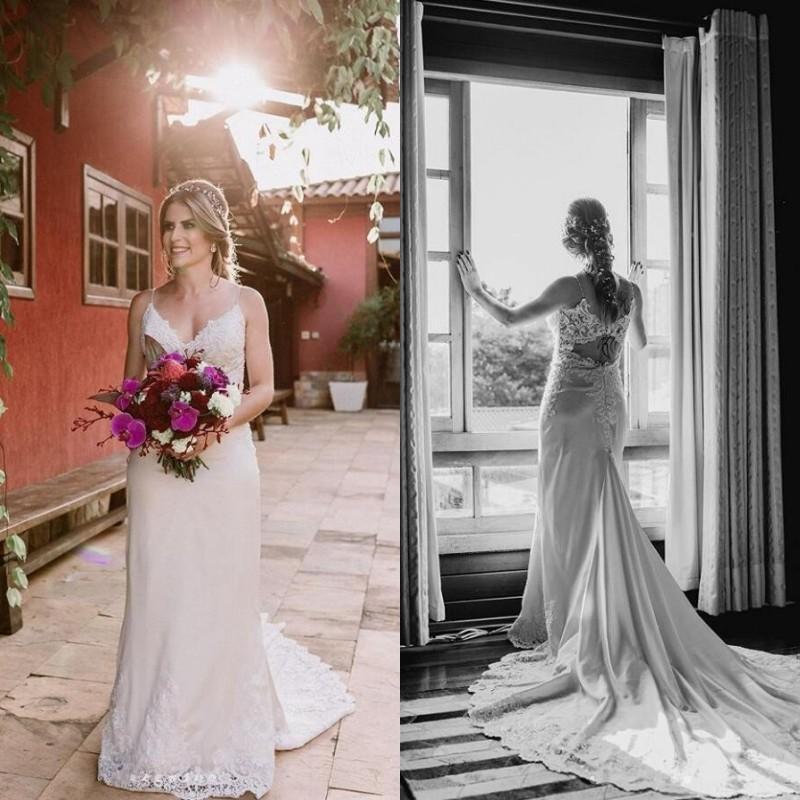 Plus Size Spaghetti Strap sirène robes de mariée dos nu train sans manches en satin dentelle Applique Jardin robes de mariage