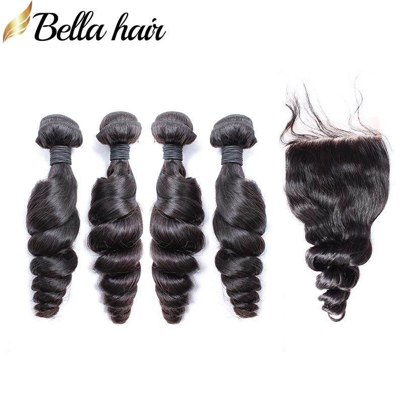 Bellahair Brezilyalı Saç Demetleri Kapatma Ile Gevşek Dalga İnsan Saç Uzantıları 100% İşlenmemiş İnsan Bakire Saç Örgü 4 + 1 Dantel Kapatma 4x4
