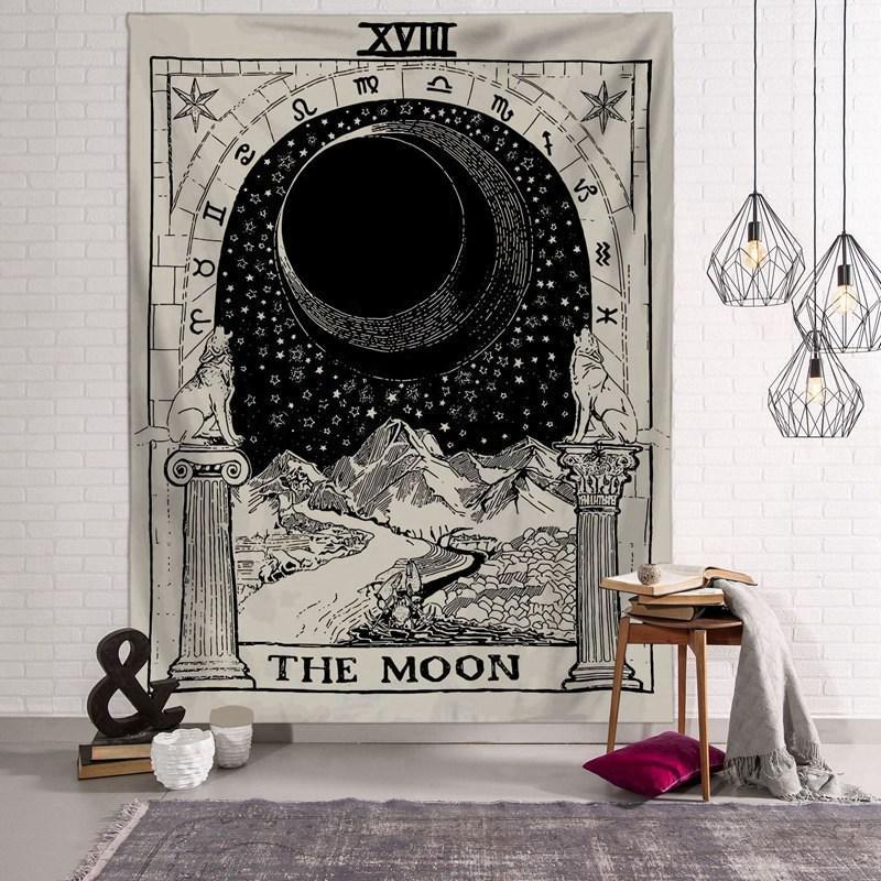 150 * 100cm Tarot-Karte Tapestry Astrologie Sun Moon Printting Tapestry Yoga-Strand-Matte Polyester Wandbehang Start-Raum-Dekor HHA1176