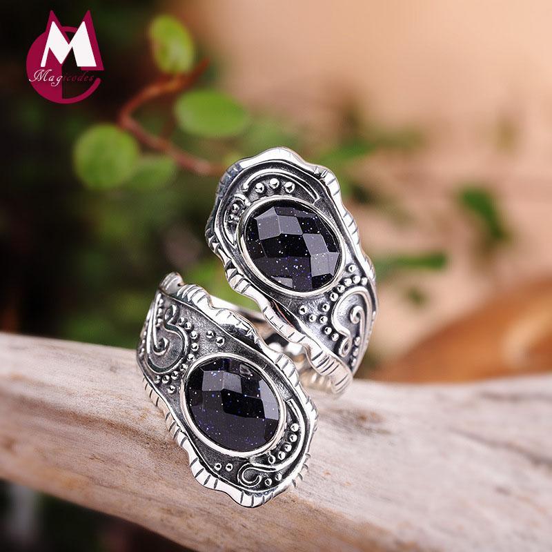 Thai 925 gioielli in argento 925 anelli d'argento per gli accessori Donne Red corindone cerimonia nuziale di aggancio per i monili R55