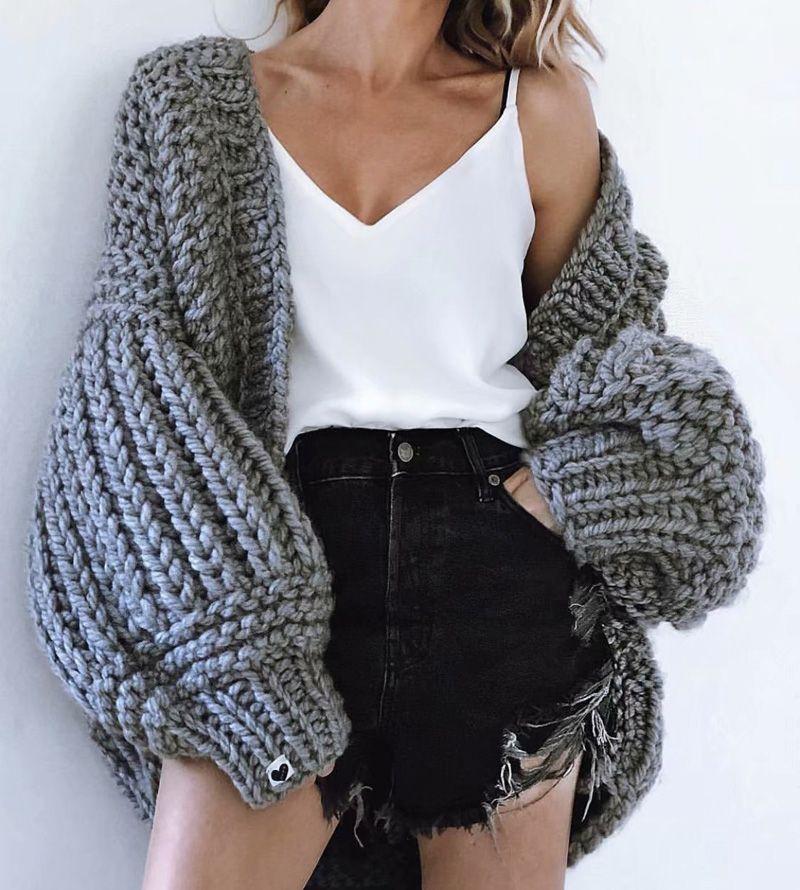 Comfy Cardigan batswing Sleeve Soft Texture Full Sleeve Crochet Sweater Chunky Knitting kit Female Woman Sweaters