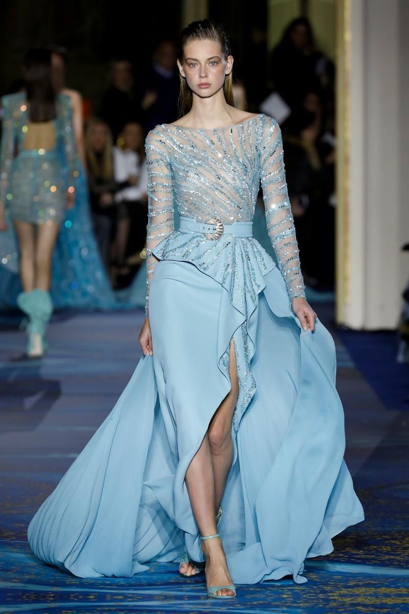 С длинным рукавом голубой 2020 Вечерние платья Аппликация Пояс Sheer Длинные рукава Split Формальное Пром платья партии Случай платья сшитое