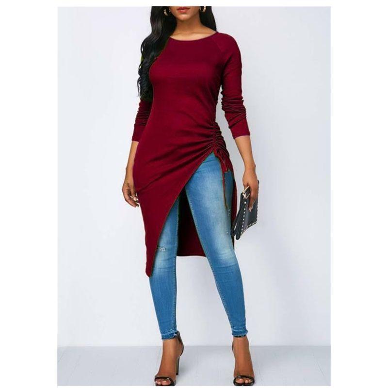 2019 Fashion Trend Mulheres Blusa manga comprida assimétrica Hem Shirts Autumn Pré-queda casual solta elegante Tops Três Cores