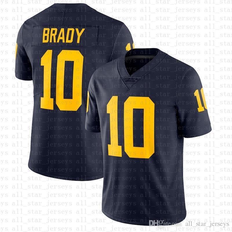 미시간 울버린 10 톰 브래디 아메리칸 축구 유니폼 10 Tom Brady 97 Nick Bosa 26 Saquon Barkley Jerseys Blue