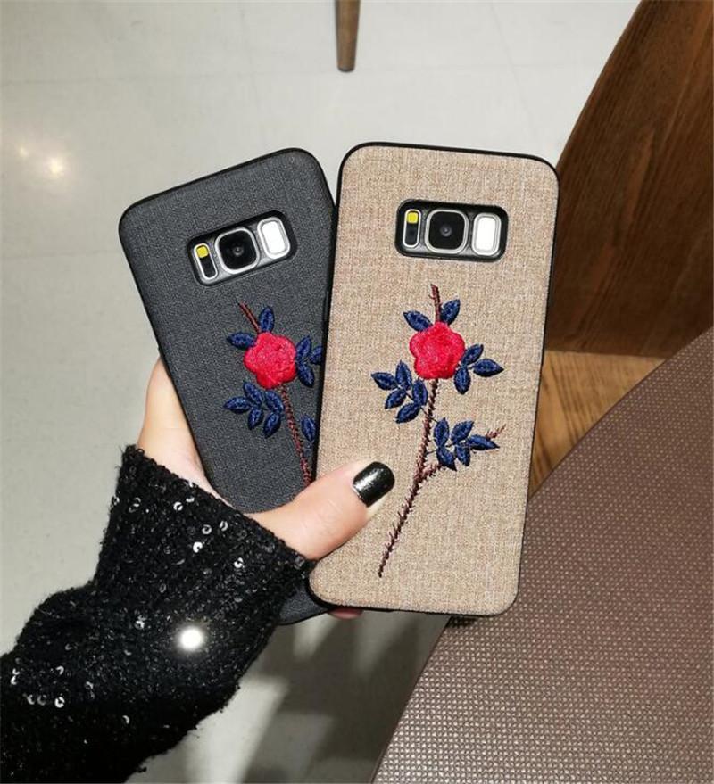 DCHZIUAN Nakış Gül Çiçek Samsung Galaxy S10 Artı S8 S9 Artı Not 9 Not 8 Kılıf Cep Kapak Coque İçin Lüks Telefon Kılıfı