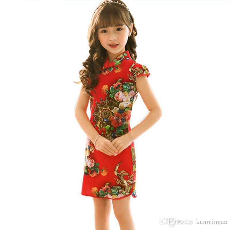 Estate vestito dall'annata neonate elegante stile cinese per bambini Abbigliamento Vestidos costume bambini abiti per ragazze copre