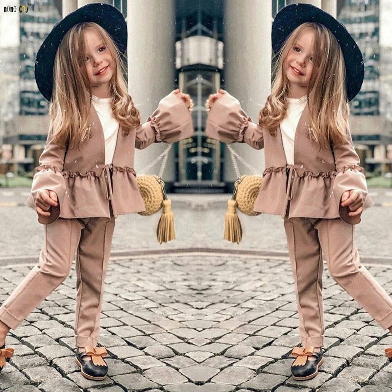 2018 Sonbahar Kız Giysileri Set Iki Parçalı Pantolon Katı Flare Kol Çocuk Kıyafet Çocuk Kız Giyim Için 3 4 5 6 7 8 Yıl J190514