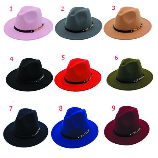 Moda Erkekler Kadınlar Için Üst Şapka Zarif Moda Katı Fedora Şapka Bant Geniş Düz Brim Caz Şapkalar Şık Firby Panama Kapaklar