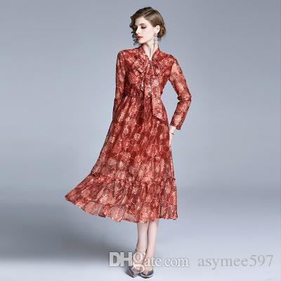 Art und Weise Neue Frauen-Vintage-Kleider Nizza Blumendrucken-Kleid-Dame Sommer-Rüsche-Casual Wear mit Halsband