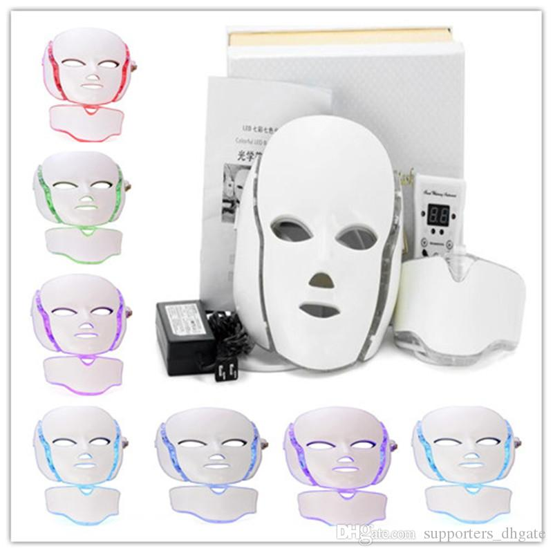 Dropshipping LED lights Photon Therapy Beauty 7 Color PDT Facial Neck Mask Electric Face Skin Care Machine Rejuvenation With Microcurrent
