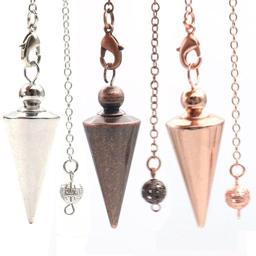 10 PC al por mayor muchos colores Cono Pirámide de aleación de metal de péndulo de radiestesia colgante cadena de acoplamiento de joyería personalizada