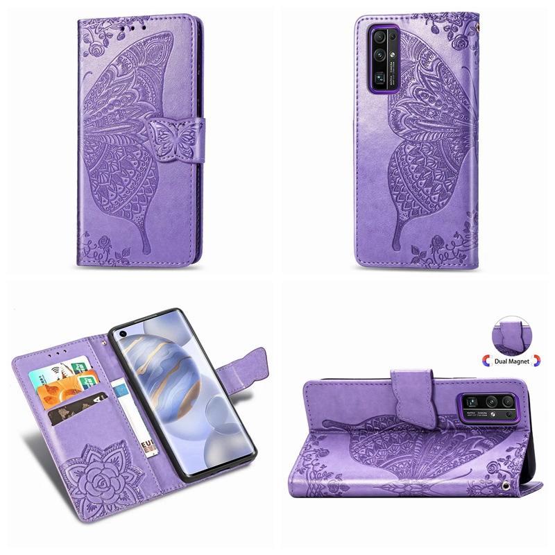 Für Huawei Honor 9A 30S Honor 30 Pro-Schmetterlings-Wallet Ledertasche Impressum Spitze nette Blumen-Blumenhalter ID Slot-Schlag-Abdeckung Purse Stilvolle