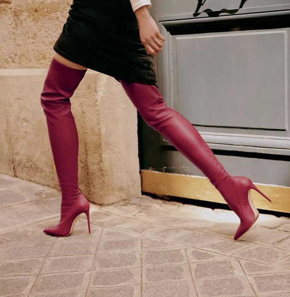 Diz uyluk yüksek çizmeler yüksek topuklu moda lüks kadınlar kış botları PU deri boyutu 35 40 üzerinde Sıcak Satış-Seksi kırmızı