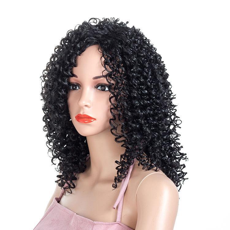 Europeus e americanos peruca fibra química Africano pequeno volume feminina longa seção cabeça explosão peruca peruca