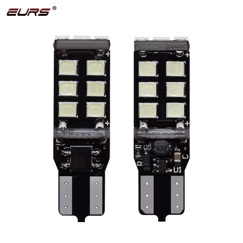 EURS 10pcs T10 W5W 194 LED Canbus Ampüller 2835 SMD 15 LED Ampuller Beyaz Hata Ücretsiz Araç Oto Kama İç Işık Kubbe Harita Trunk Lambası
