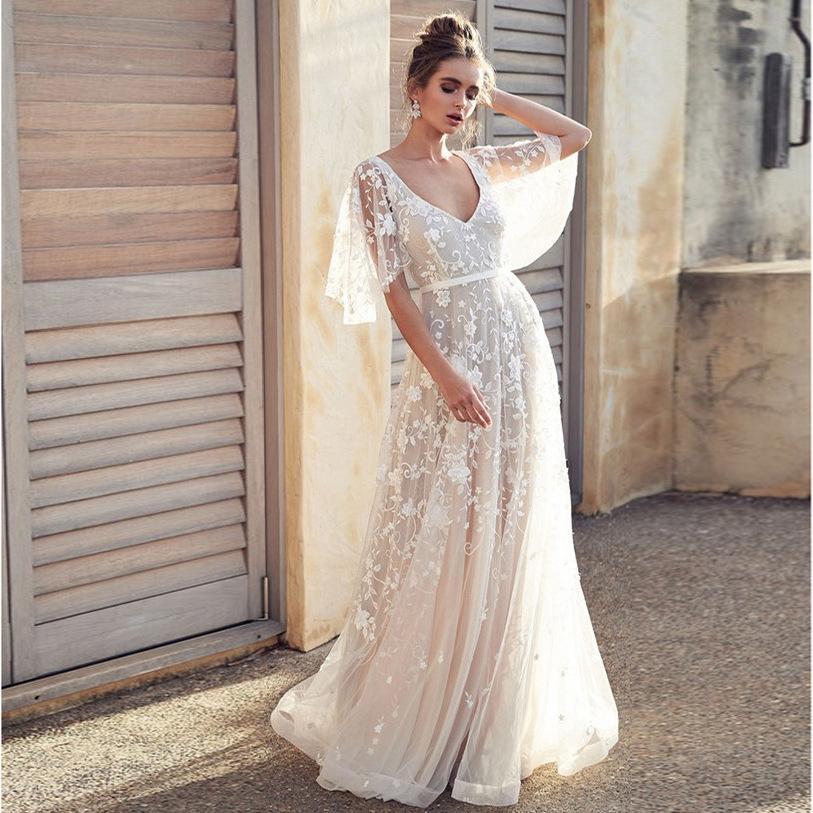 de atrás abierta blanca mujeres europeas y americanas cremallera encaje nuevo vestido de cuello V encaje sexy vestido de explosión