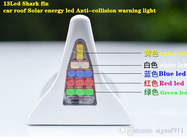 13Led 5colors 상어 지 느 러 미 자동차 지붕 태양 에너지 주도 anti-collision 경고 빛,주의 빛, 비상 조명, pileup 방지 Tailight