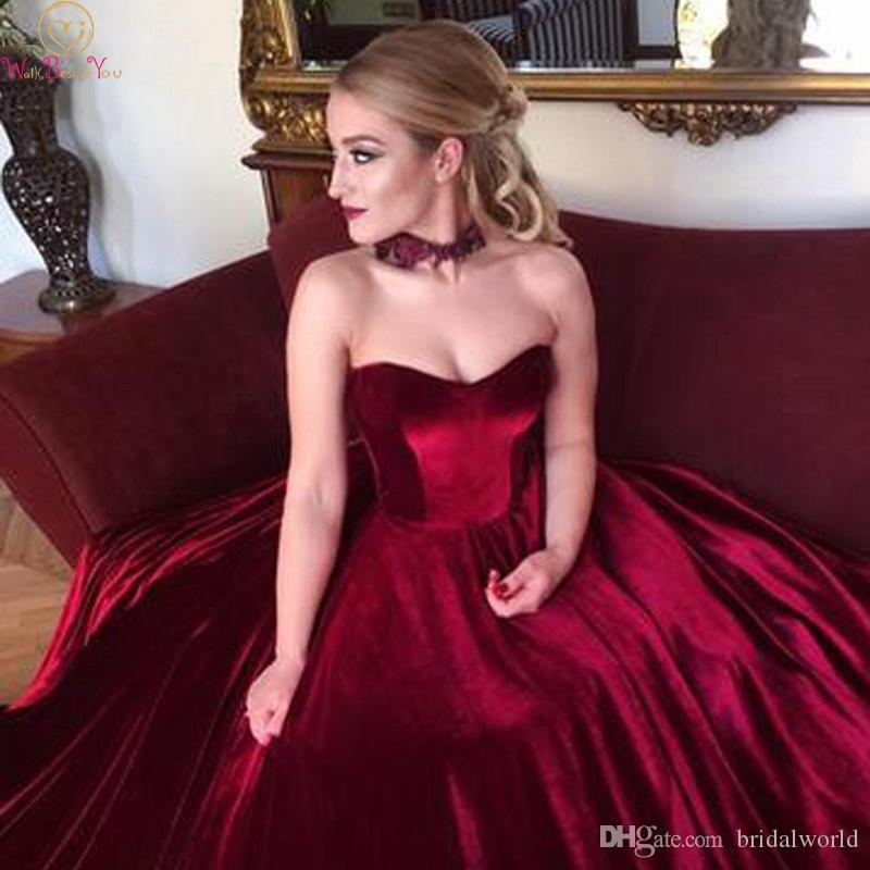 Burgund Ballkleider Brautkleider 2019 Samt Schatz Mieder Korsett Kleid Formale Party Kleider robe de soire vestido de noiva