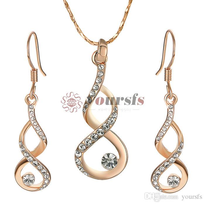 Yoursfs Infinity Smycken Set Rose Gold Plated 8-Shape Hook Dangle Örhängen med Solitaire Cubic Zirconia