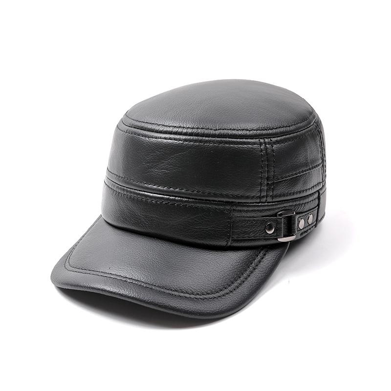 Genuine Leather Flat Peak military Cap real leather Hats men's caps winter warm