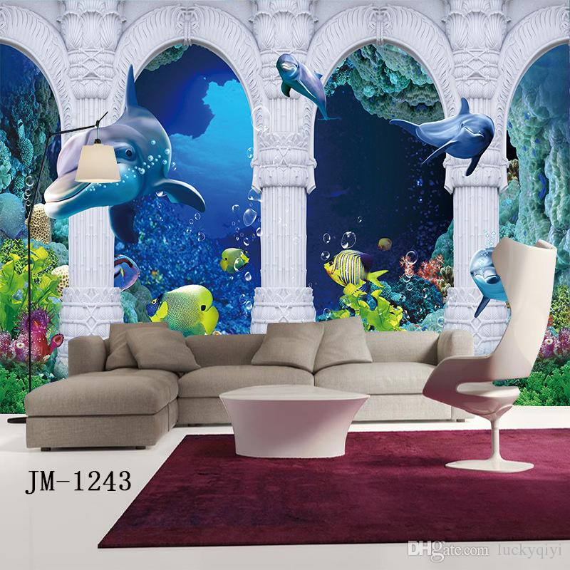 3D stereo wall stickers mural wallpaper underwater world dolphin ocean Swimming pool water park children background mural