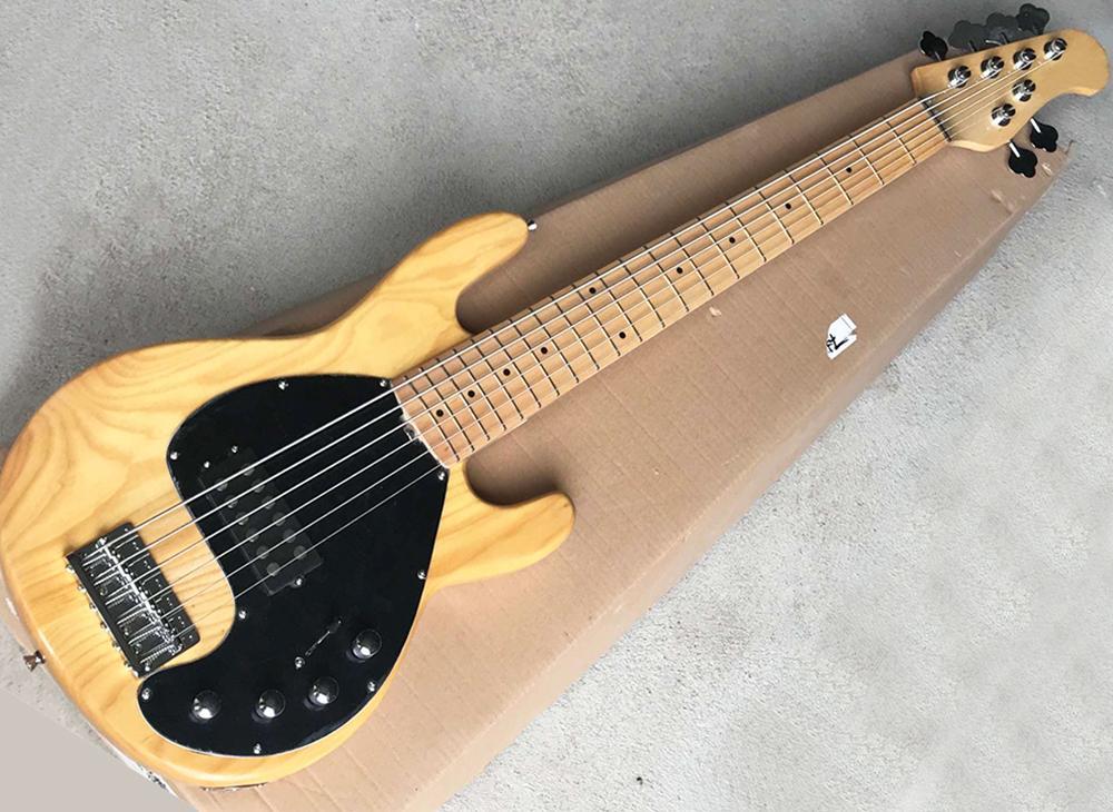 La venta directa de 6 cuerdas de madera natural color de la música bajo eléctrico con cuerpo de fresno, arce diapasón, golpeador negro