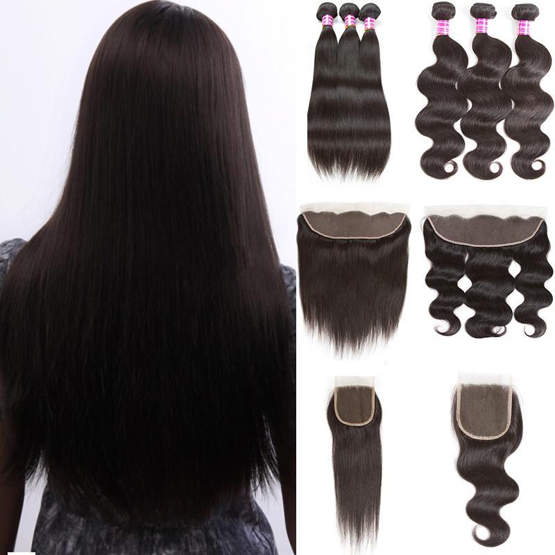 10A brasileño de la Virgen del pelo con el encierro Extensiones 3 paquetes de Brasil la onda del cuerpo con el pelo de encaje frontal bruto recta armadura del pelo humano